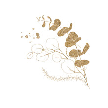 Watercolor Floral Illustration - Bouquet Branch With Gold Leaves, For Wedding Stationary, Greetings, Wallpapers, Fashion, Backgrounds, Textures, DIY, Wrappers, Cards.