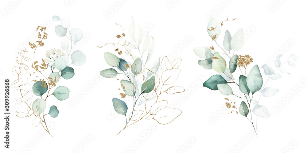 Fototapeta Watercolor floral illustration set - green & gold leaf branches collection, for wedding stationary, greetings, wallpapers, fashion, background. Eucalyptus, olive, green leaves, etc.