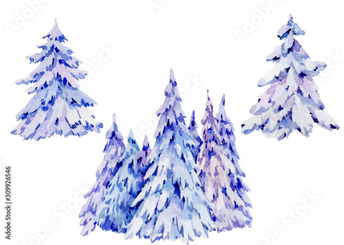 Vászonkép Watercolor natural winter woodland collection