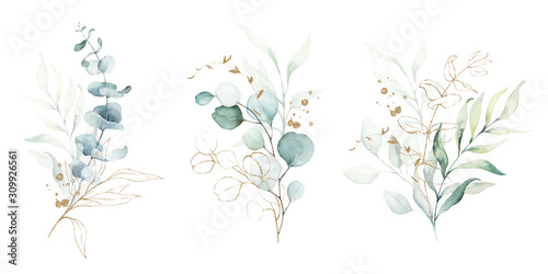 Watercolor floral illustration set - green & gold leaf branches collection, for wedding stationary, greetings, wallpapers, fashion, background. Eucalyptus, olive, green leaves, etc. - 309926561
