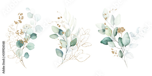 Fototapeta Watercolor floral illustration set - green & gold leaf branches collection, for wedding stationary, greetings, wallpapers, fashion, background. Eucalyptus, olive, green leaves, etc. obraz