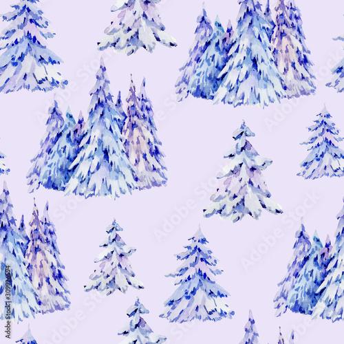 Watercolor natural winter woodland seamless pattern Tapéta, Fotótapéta