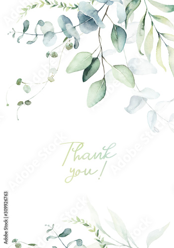 Cuadros en Lienzo  Watercolor floral illustration with green branches & leaves - frame / border, for wedding stationary, greetings, wallpapers, fashion, background