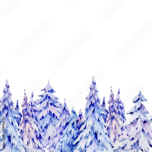 Fotografie, Tablou  Watercolor natural winter woodland greeting card