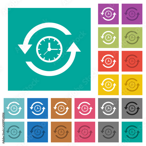 Photo History square flat multi colored icons