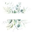 Leinwandbild Motiv Watercolor floral illustration - leaf frame / border, for wedding stationary, greetings, wallpapers, fashion, background. Eucalyptus, olive, green leaves, etc.