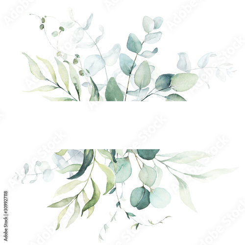Watercolor floral illustration - leaf frame / border, for wedding stationary, greetings, wallpapers, fashion, background. Eucalyptus, olive, green leaves, etc. - fototapety na wymiar