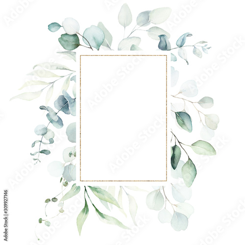 Fotomural  Watercolor floral illustration - leaves and branches wreath / frame with gold geometric shape, for wedding stationary, greetings, wallpapers, fashion, background