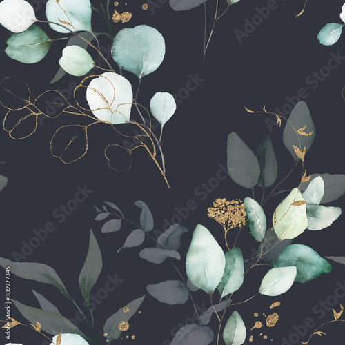Photo  Seamless watercolor floral pattern - green & gold leaves, branches composition on black background, perfect for wrappers, wallpapers, postcards, greeting cards, wedding invitations, romantic events