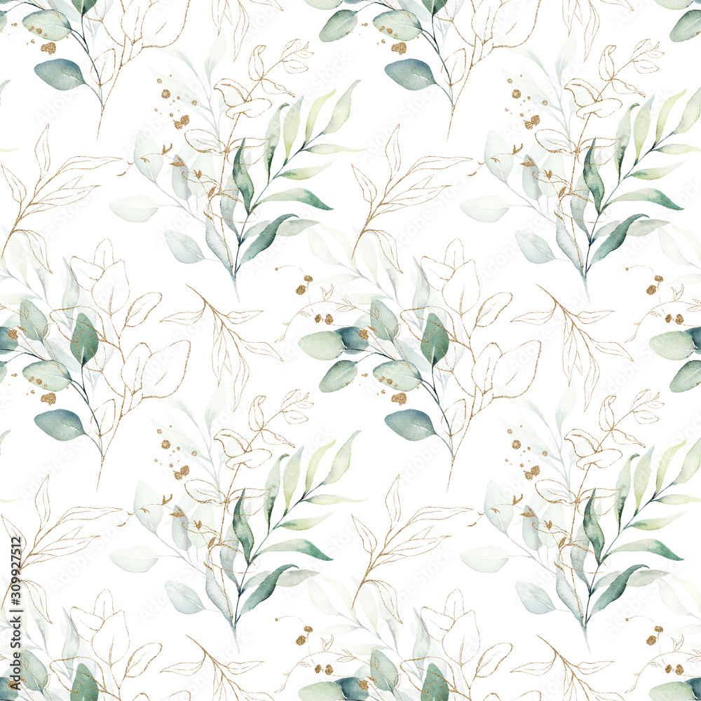 Fototapeta Seamless watercolor floral pattern - green & gold leaves, branches composition on white background, perfect for wrappers, wallpapers, postcards, greeting cards, wedding invitations, romantic events.
