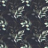 Bezszwowe akwarela kwiatowy wzór - zielone i złote liście, kompozycja gałęzi na czarnym tle, idealne na opakowania, tapety, pocztówki, kartki okolicznościowe, zaproszenia ślubne, romantyczne wydarzenia. - 309927530