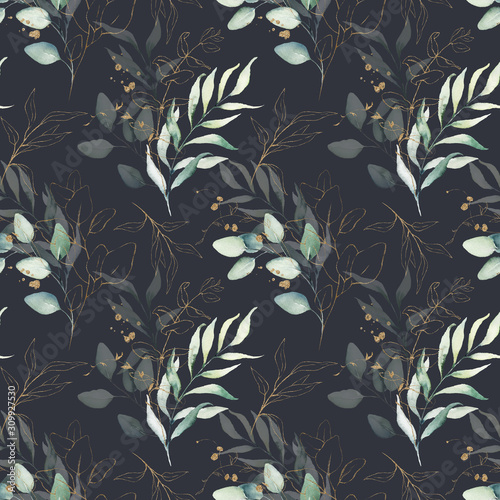 Seamless watercolor floral pattern - green & gold leaves, branches composition on black background, perfect for wrappers, wallpapers, postcards, greeting cards, wedding invitations, romantic events.
