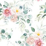 Bezproblemowa akwarela kwiatowy wzór z różowymi i brzoskwiniowymi kremowymi kwiatami, kompozycja liści na białym tle, idealna na opakowania, tapety, pocztówki, kartki okolicznościowe, zaproszenia ślubne, wydarzenia. - 309927707