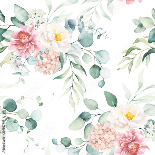 Seamless watercolor floral pattern with pink & peach cream flowers, leaves composition on white background, perfect for wrappers, wallpapers, postcards, greeting cards, wedding invitations, events. - 309927707