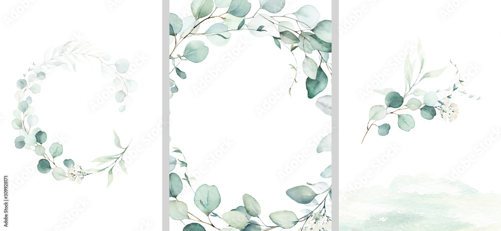 Fototapeta Pre made templates collection, frame, wreath - cards with green leaf branches. Wedding ornament concept. Floral poster, invite. Decorative greeting card, invitation design background, birthday party.
