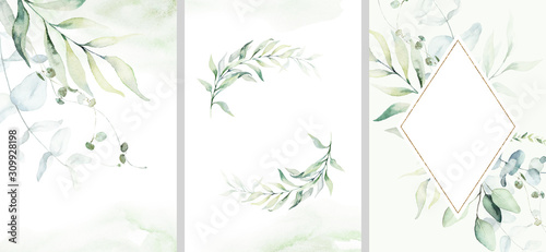 Obraz Pre made templates collection, frame, wreath - cards with green leaf branches. Wedding ornament concept. Floral poster, invite. Decorative greeting card, invitation design background, birthday party. - fototapety do salonu