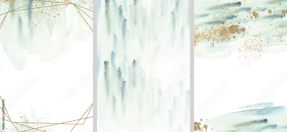 Fototapeta Pre made templates collection, geometric frame - cards with gold, turquoise textures backgrounds. Wedding concept. Floral poster, invite. Greeting card, invitation design background, birthday party.