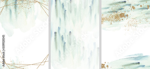 Fototapeta Pre made templates collection, geometric frame - cards with gold, turquoise textures backgrounds. Wedding concept. Floral poster, invite. Greeting card, invitation design background, birthday party. obraz