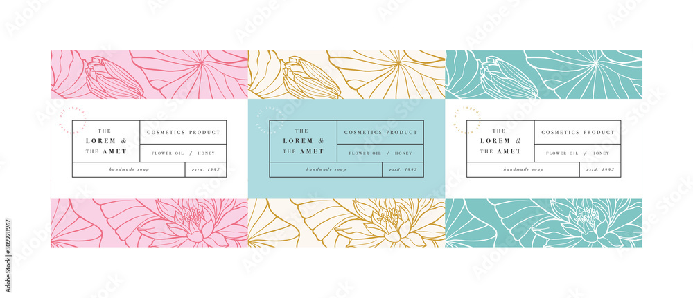Fototapeta Vector set pattens for cosmetics with label template design. Patterns or wrapping paper for package and beauty salons. Lotus flowers. Organic, natural cosmetic.