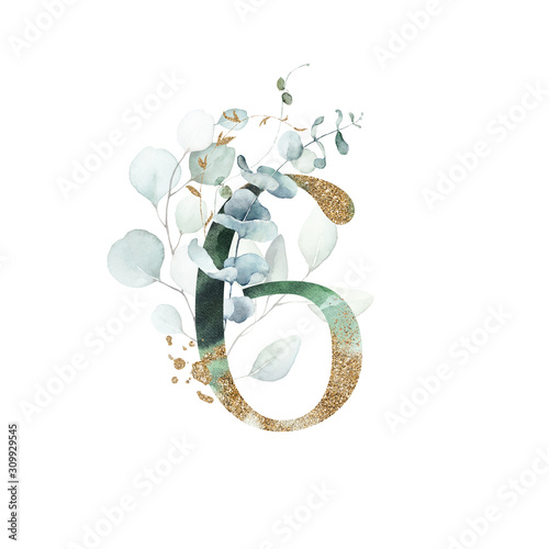 Gold Floral Numbers - digit 6 with gold and green botanic branch leaf bouquet composition Tableau sur Toile
