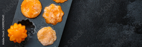 frozen puree orange pumpkin or carrot (preparation, silicone mold, vegetable puree mashed, convenience food) menu concept. food background. top view. copy space - 309929560