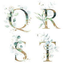 Gold Green Floral Alphabet Set - Letters Q, R, S, T With Green Leaves, Botanic Branch Bouquet Composition. Unique Collection For Wedding Invites Decoration And Many Other Concept Ideas.