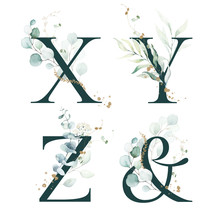Dark Green Floral Alphabet Set - Letters X, Y, Z, & Ampersand With Green Leaves, Botanic Branch Bouquet Composition. Unique Collection For Wedding Invites Decoration And Many Other Concept Ideas.
