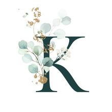 Dark Green Floral Alphabet - L...