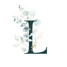 Dark Green Floral Alphabet - Letter L With Gold And Green Botanic Branch Bouquet Composition. Unique Collection For Wedding Invites Decoration, Birthdays & Other Concept Ideas.