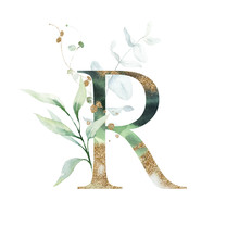 Gold Floral Alphabet - Letter R With Gold And Green Botanic Branch Leaf Bouquet Composition. Unique Collection For Wedding Invites Decoration & Other Concept Ideas.