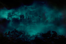 The Ruins Of A Large City Building With Pieces Of Concrete And Brick Rubble Debris In Front Are Covered With Smoke From The Civil War And The City Abandonment, Concept Of War