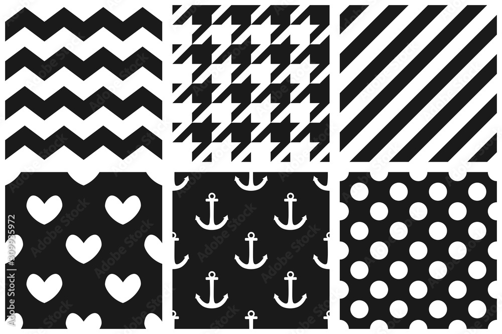 Fototapeta Tile vector pattern set with chevron, zig zag, polka dots, sailor, hearts and stripe background
