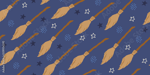 seamless witch pattern with flying brooms, magic
