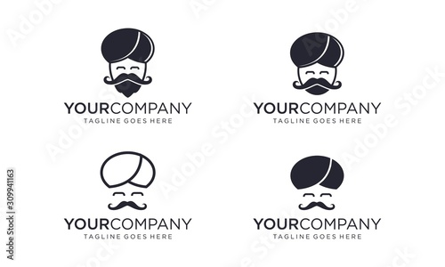 Valokuvatapetti Guru head for logo design concept editable