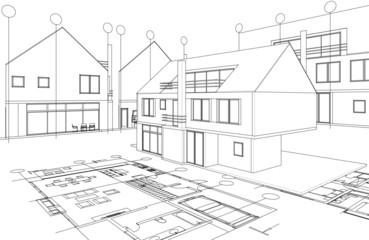 house architecture sketch 3d illustration