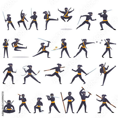 Fotografia Ninja icons set. Cartoon set of ninja vector icons for web design