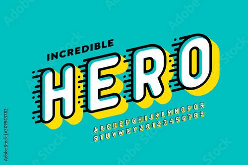 Obraz Comics style font design, super hero alphabet, letters and numbers - fototapety do salonu