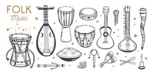 Ethnic, Folk Music Festival Vector Poster, Background. Different Music Traditional Folk Instruments. Handwritten Lettering
