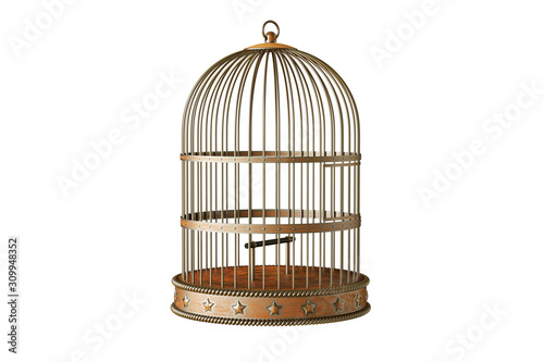 Vintage metal bird cage isolated on white background Fototapet