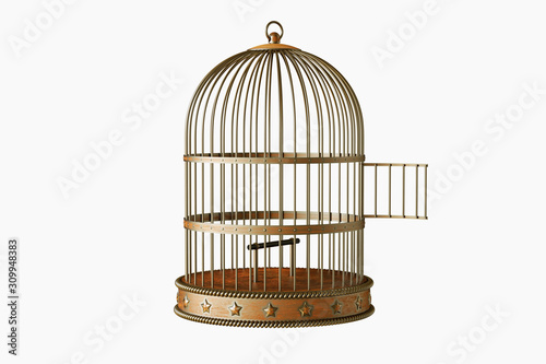 Photo Vintage metal bird cage with door open isolated on white background