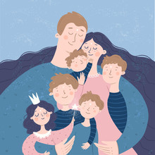 Happy Family. Vector Illustration Of Mother, Father And Children: Daughter And Son, Hugging And Joyful. Isolated Freehand Drawing For Card, Background Or Poster.