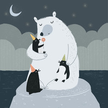 Polar Bear With Little Peng...