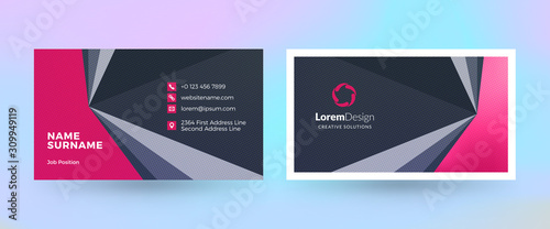 Double-sided horizontal business card template. Vector mockup illustration. Stationery design. Halftone texture