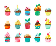 Cupcakes With Frosting In Cartons Flat Vector Illustration Set
