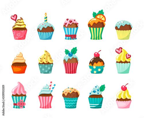 Carta da parati Cupcakes with frosting in cartons flat vector illustration set