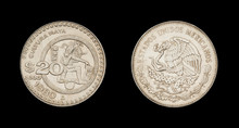 Twenty Mexican Pesos Coin (1980 Year). Front Side: Mayan Native American , Back Side: An Eagle On Cactus Catching Snake Flanked By Oak And Laurel Springs.