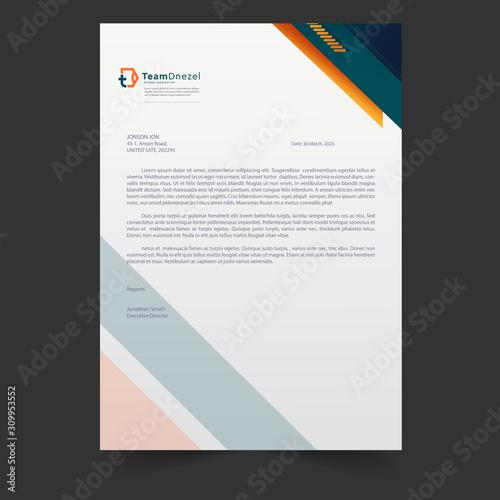 Fototapeta Business style letter head templates for your project design, elegant letterhead template design, Vector illustration obraz
