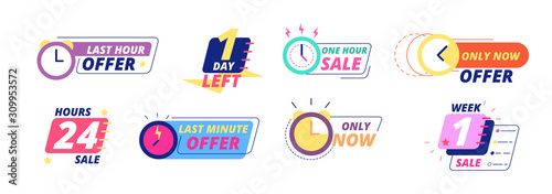 Obraz Sale countdown badges. Last day, hour and minute offer labels with clock icons. Big deal limited sale announcement stickers vector set. Countdown badge, special illustration, day minute illustration - fototapety do salonu