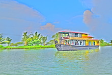 Hdr Painting Of Houseboat