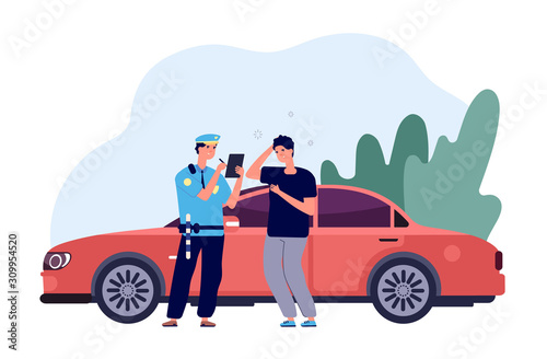 Policeman and driver Canvas Print